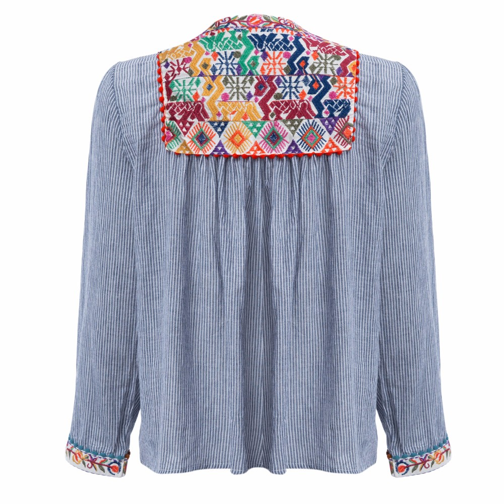 AZULINA Vintage Floral Embroidery Blouse Blusas Women Long Sleeve Blue Striped Spring Summer Cotton Linen ethnic blouse top 2017 5