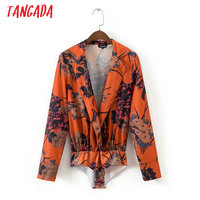 Tangada Fashion Women Floral Print Body Blouse Sexy Deep Turn Down Collar Bodysuit Shirt Long Sleeve Playsuit Tops XD10