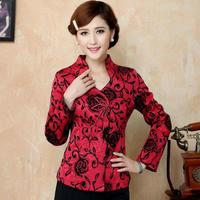 2018 High Quality Long Sleeve Jacket Chinese Red Fashion Women Jacquard Coat National Style Mandarin Collar Outwear Onersize 4XL