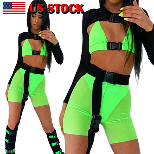 2PCS Summer Women Sports <font><b>Sexy</b></font> Halter <font><b>Neck</b></font> Sleeveless Front Bag <font><b>Buckles</b></font> <font><b>Crop</b></font> <font><b>Top</b></font> Shorts Jumpsuit Summer Yoga Clubwear Outfits image
