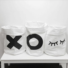 LM17 Ins Baby Storage Bag Canvas bag White Cotton Hand Stand up Bag Print XOXO Rabbit laundry hamper 63*35cm