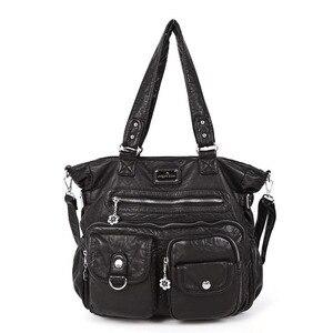 Image 2 - Multi Pocket Luxury Soft PU Leather Shoulder Bags for Women Large Capacity Shopping Crossbody Hobo Bags European Tote Handbag