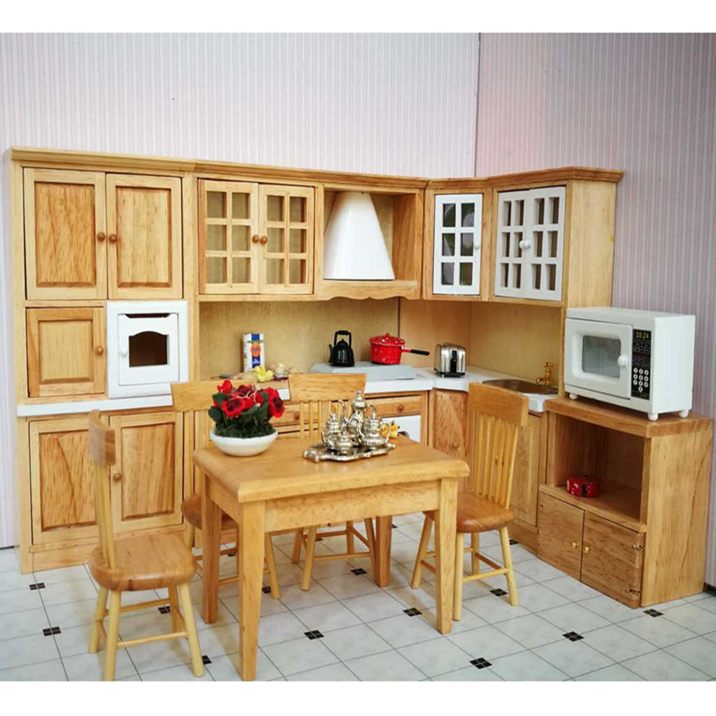 1/12 Luxury Wooden Kitchen Cabinet Cupboard Doll House Furniture Set for Dolls House Dining Room Accessories Decoration