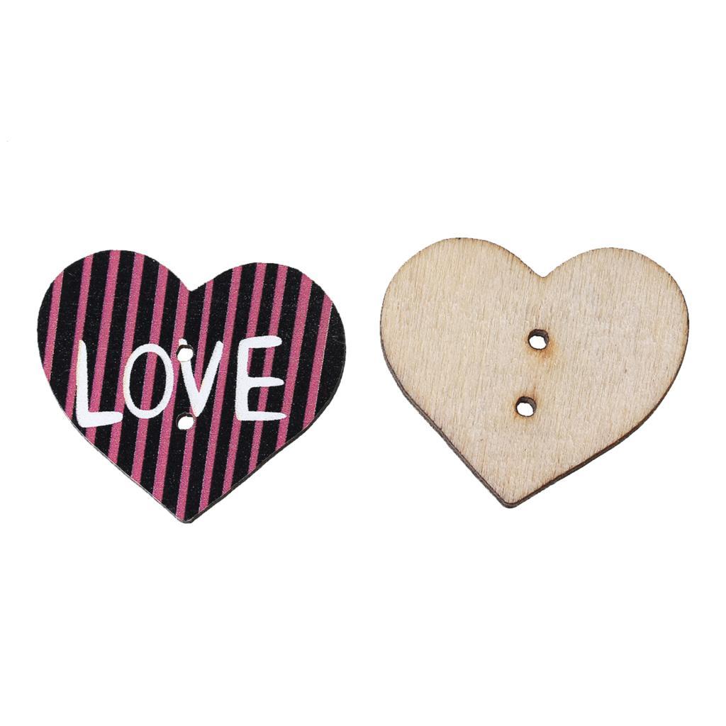 ✓Doreenbeads madera Costura botón scrapbooking corazón multicolor ...