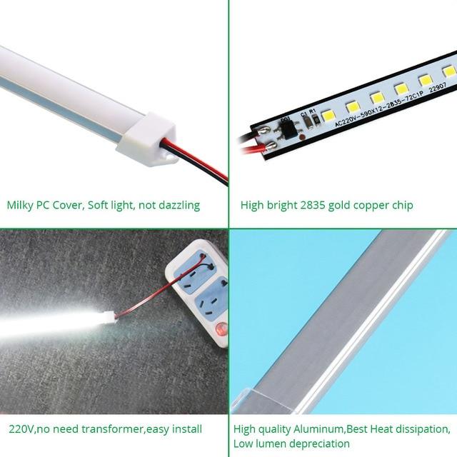 30CM 50CM 220V 230V 240V sous éclairage LED pour placard bande lumière Cuisine placard lampe Cuisine bibliothèque armoire Cocina chambre veilleuses 2