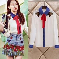 GG Spring Summer Fashion Runway Women Chiffon Blouses Long Sleeve Bee embroidery Bow Ruffles lady White Shirts Blusas feminina