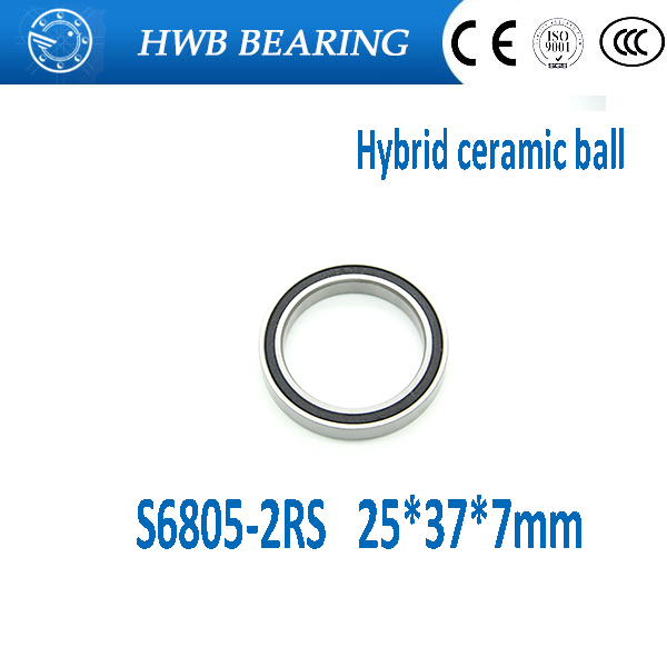 Free shipping S6805-2RS stainless steel 440C hybrid ceramic deep groove ball bearing 25x37x7mm S6805 RS S61805 free shipping wheel hub bearing 15267 2rs 15 26 7mm 15267 rs stainless steel si3n4 hybrid ceramic bearing