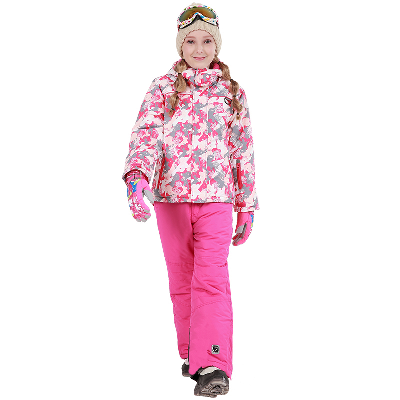 2018 Kids Girls Winter Outdoor Ski Jacket Pants Set Waterproof Snowboard Jacket Outerwear Sport Suits for Girls Children Winter-in Clothing Sets from Mother & Kids    1