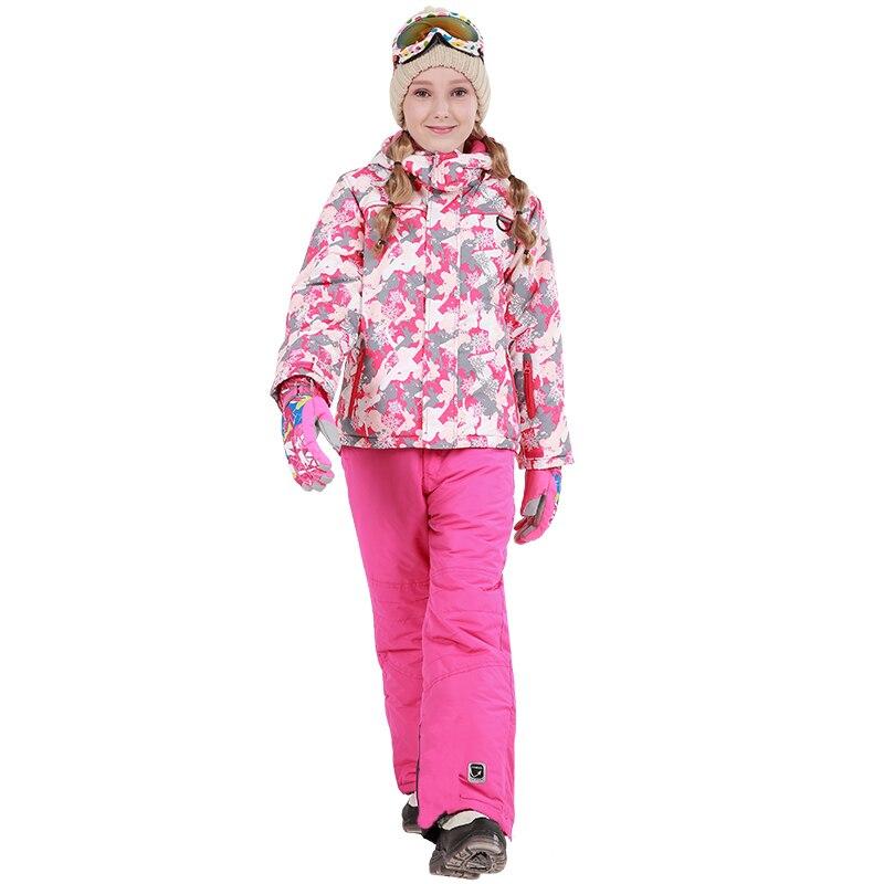 2018 enfants filles hiver veste de Ski en plein air pantalon ensemble imperméable Snowboard veste d'extérieur Sport costumes pour filles enfants hiver