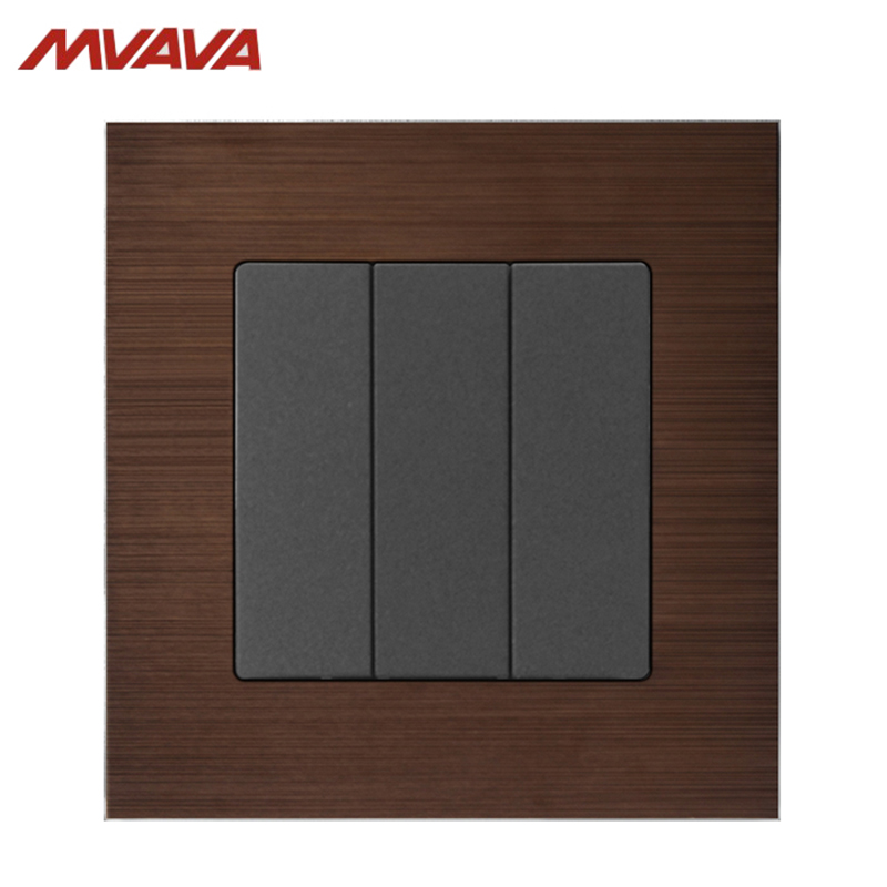 MVAVA 16A Light Switch 3 Gang 1/ 2 Way Lamp Wall Push Button EU/UK Standard Alumimum Brusted Light Control AC 220V Free Shipping new camber design 2 gang 2 way big push button wall light switch 220v 16a electric switch and lamp switch with fluorescent