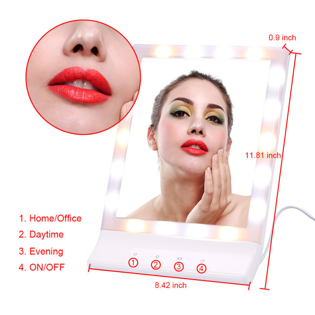 Adjustable Makeup Mirror 18 LEDs Touch Screen White Light Magnifying  Lighted Make Up Mirror 90 Rotating