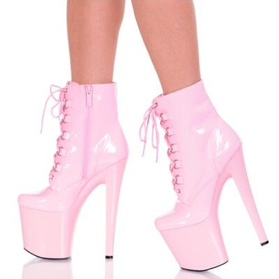 Super High Platform 20CM Women Ankle Boots Pink Shinng Leather Lace-up Gladiator Sandals Boots Tie-up Short Boot Big Size 13