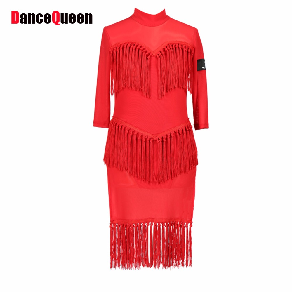 цены New Arrival Latin Dance Dress Women Competition Red Black Tassel Latin Dance Skirt Lady Salsa Performance Dresses Fashion 13167