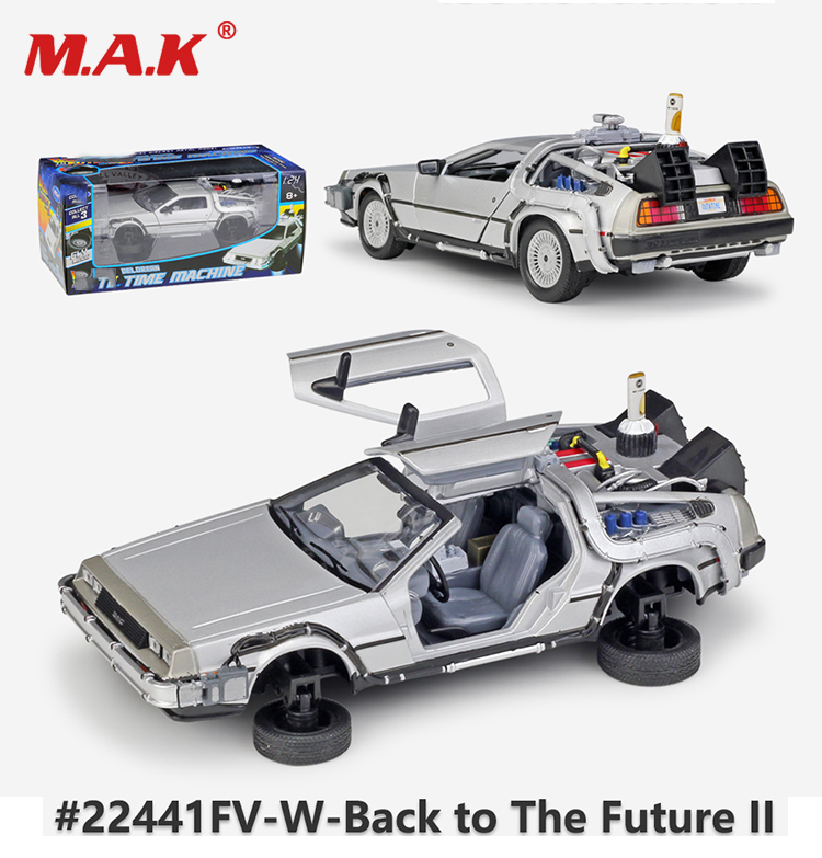 Metal Alloy Car Model Toys 1:24 Scale Diecast Car Oart 1 2 3 Time Machine DeLorean DMC-12 Model Welly Back To The Future Car