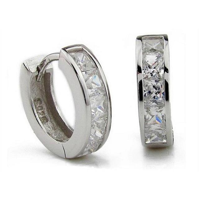 2017 New Arrival 925 Sterling Silver Jewelry Men Earrings Hoop For Man Women Swiss Cz Diamond Huggie Earring Brincos