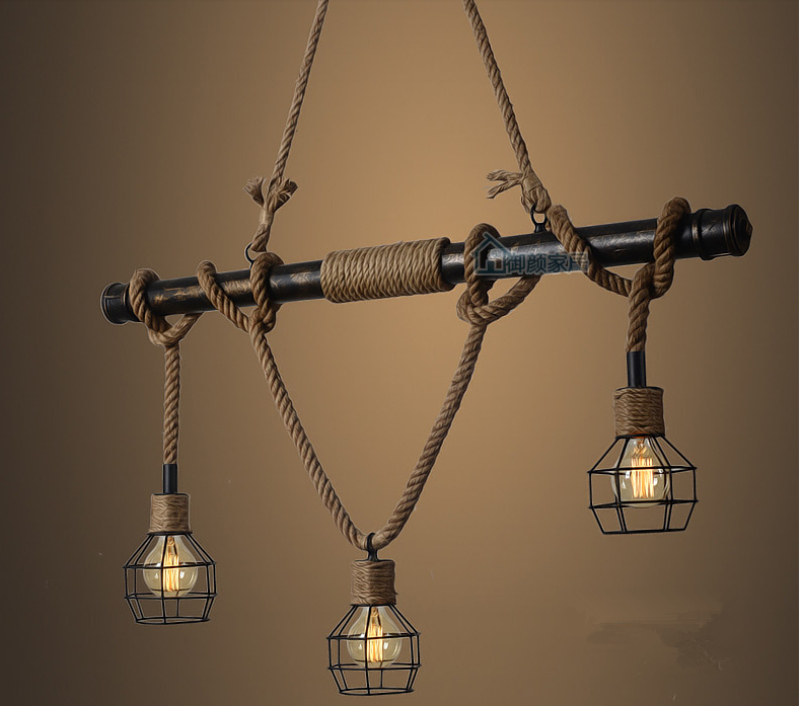American Country E27 Edison Industrial Vintage Metal Water Pipe Hemp Rope Pendant Light Home Decoration Drop Lamp Rustic Loft e27 220v rustic industrial pendant lights vintage lamp water pipe hanging light loft lamp for home lighting decor
