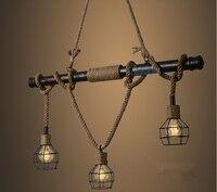 American Country E27 Edison Industrial Vintage Metal Water Pipe Hemp Rope Pendant Light Home Decoration Drop Lamp Rustic Loft