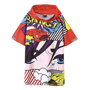 Estación europea 2019 señoras nueva camiseta de manga corta marea de gran tamaño beauty god Sudadera con capucha ojos primavera y verano vestido