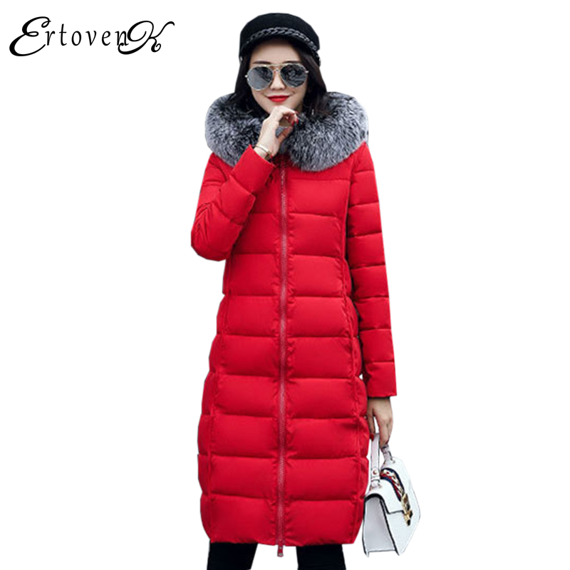 Double-faced Women Winter Outerwear 2017New Cotton Jacket Hooded Plus size Clothes Fur collar Slim Top Simple Fashion CoatLH078 double collar designed jacket earthy size l