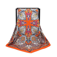 New Arrival Fashion Women soft satin brand scarf / Printed quare silk scarves 100cm Gifts Wholesale