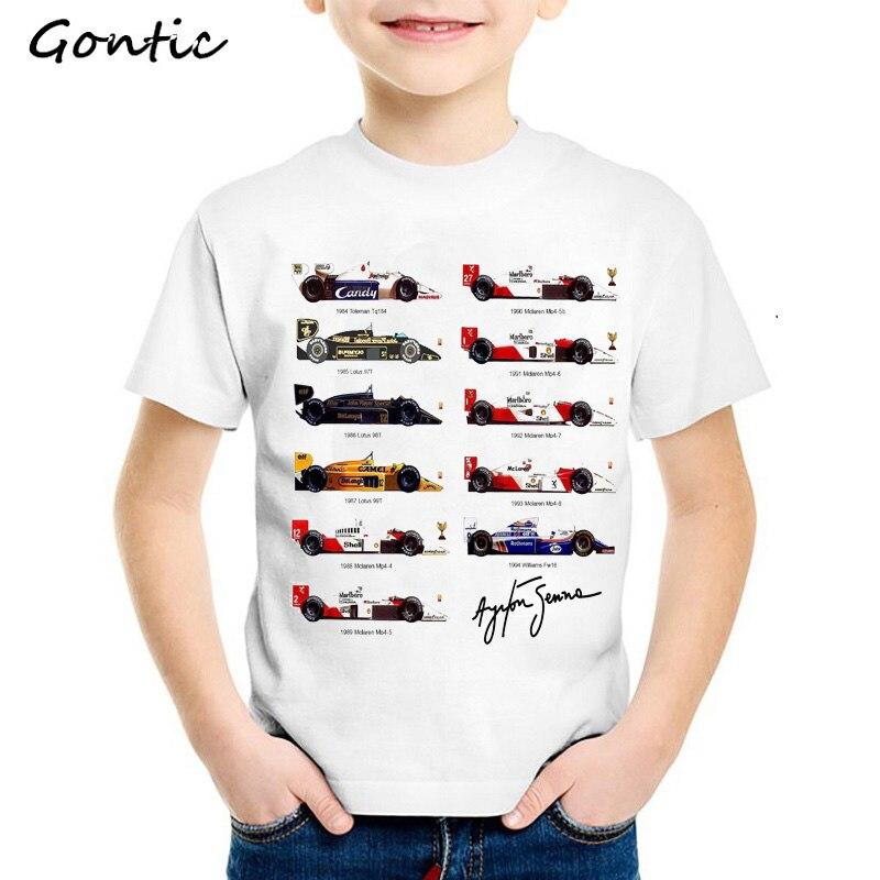 T-Shirt Short-Sleeve Boys Tees Baby-Boy Children Camiseta 2-8year Car-Fans Ayrton-Senna-Cars