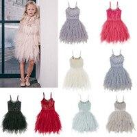 Elegant Baby Girl Rustic Lace Sling Dress Kids Princess Birthday Dress Rhinestone Sashes Tutu Dress Toddler Party Gown CA555