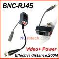 Envío Libre CCTV RJ45 UTP Video Balun Transceptor con el Vídeo y el Poder