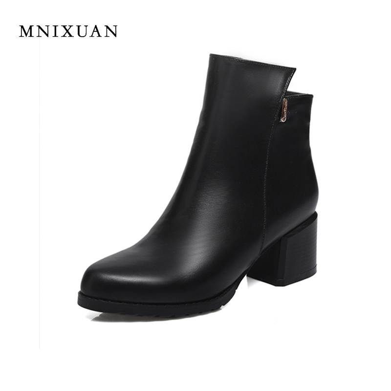 Fashion new winter ankle boots for women high heels genuine leather ladies shoes 2017 round toe block high heels big plus size42 2017 autumn winter new womens leather ankle boots ladies black short boots round toe high block heel zip up booties size