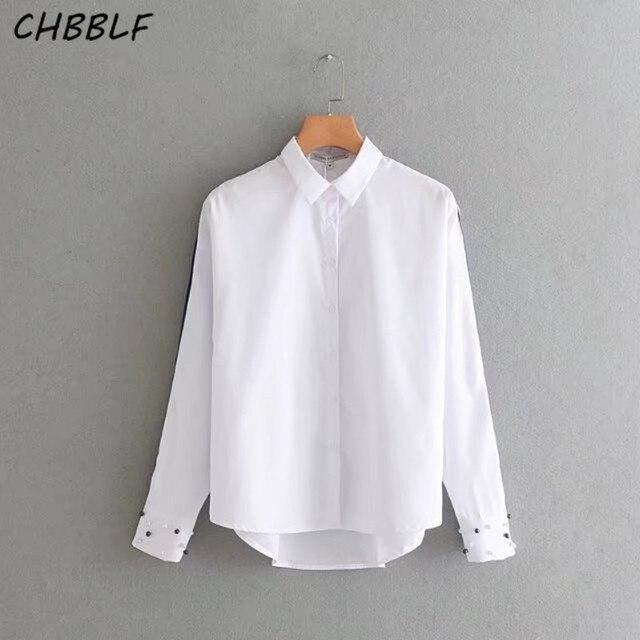 2adcb72786 women Classic white blouse casual long sleeve turn down collar shirt  fashion beading sleeve ladies tops S1334