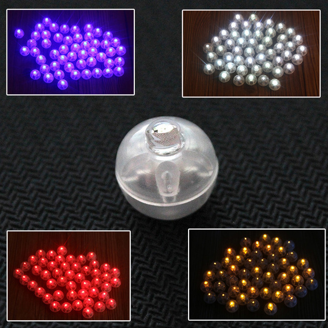 100 Pcs/lot Round Led RGB Flash Ball Lamps Balloon Lights for Lantern Christmas Wedding Party Decoration White, Yellow 2016 New