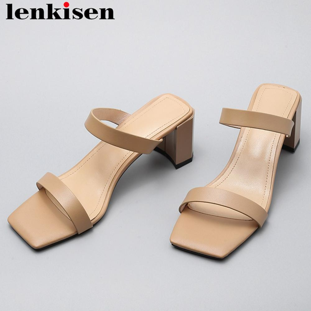 Lenkisen full grian leather med heels slip on women sandals peep square toe mules concise style