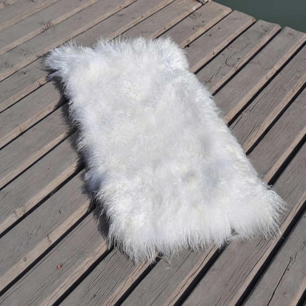 """Beyaz Moğol Kürk Pelts Alan Gerçek kürk halı Yatak Kat Mat Dekoratif Atmak Halı Kilim ve Halılar Bebek Peruk 22 """"x 45"""""""