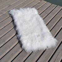 White Mongolian Fur Plate Pelts Area Real Fur rug For Bed Floor Mat Decorative Throw Carpet Rugs and Carpets Doll Wig 22x45