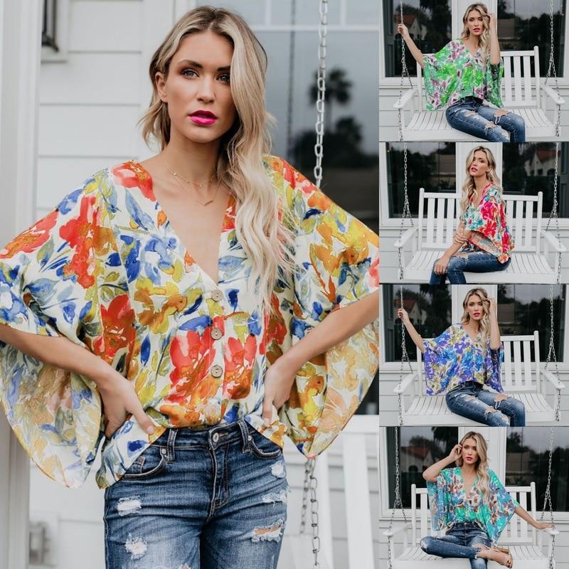 Sinnvoll Sommer 2019 Ebay Amazon Wünschen Verkaufen Frauen Kleidung V-ausschnitt Lose Gedruckt Einreihige Taste Shirts 2048
