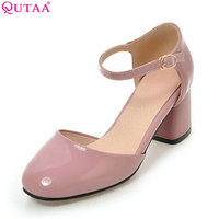 QUTAA 2017 Women Pumps Square High Heel Platform PU Patent Leather Princess Style Ankle Strap Ladies