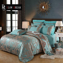 SLOWDREAM Jacquard Bedding Set Nordic Luxury Euro Bed Cover Double Flat Sheet Bedspread Queen King Bed Linen Adult Bedclothes(China)