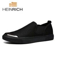 Генрих 2018 новые летние модные Для мужчин обувь Открытый Черные Лоферы Для мужчин повседневная обувь минималистский Дизайн обувь на плоской