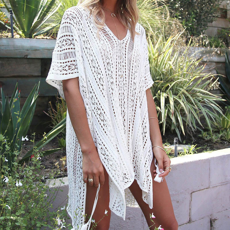 Knitted Pareo Beach 2017 Bathing suit  Cover-Ups Hollow Sexy Swimsuit  Beach Tunic Plage Beachwear  beach tunics saida de praia beach tunic swimwear pareo loose dress swimsuit cover up sarong beachwear 2016 bikini cover up robe de plage h308