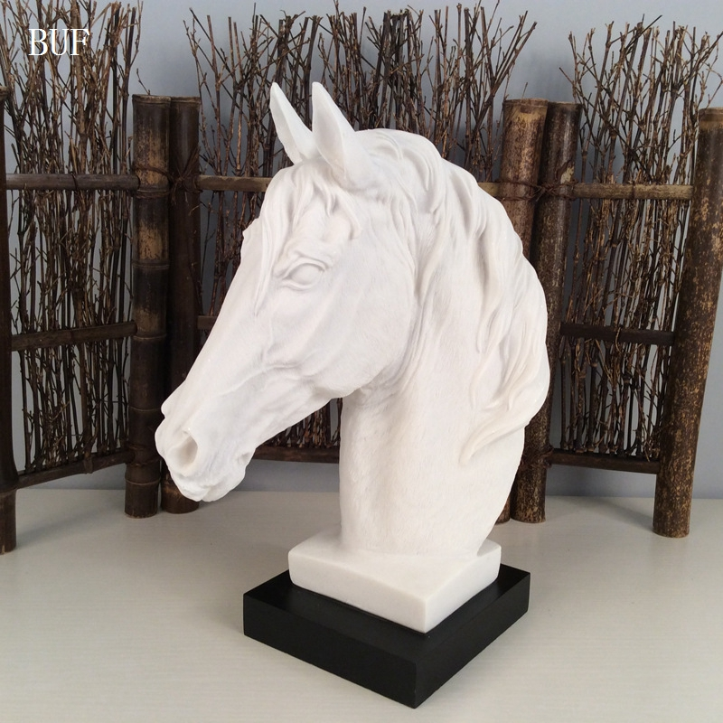 BUF Modern Abstract Horse Head Statue Sculpture Resin Ornaments Home Decoration Accessories Geometric Resin Sculpture Statues