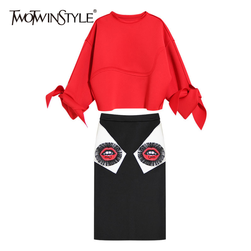 TWOTWINSTYLE Women Pullover Skirt Two Piece Sets Lantern Sleeve Sweatshirt Embroidery Tassel High Waist Skirts Suits