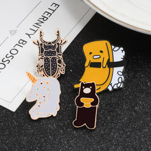 Creative Cartoon Brooches Armor Bear Horse Dog Enamel Pin Men Women Jackets Lapel Pins Badges Children Gift Exquisite Jewelry(China)