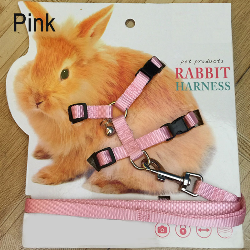 Pet Rabbit Soft Harness Leash Adjustable Bunny Traction Rope For Running Walking -Drop