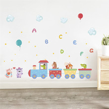 Animals train English Letter balloon Wall stickers for kids room wall decal Decor Children Home Decoration