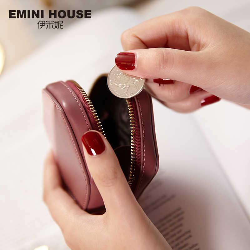 EMINI CASA de Mini Bolsa Da Moeda das Mulheres Bolsa De Moedas de Couro Rachado Bolsa Carteira Para Meninas Exquisite Zíper Design de Embreagem saco