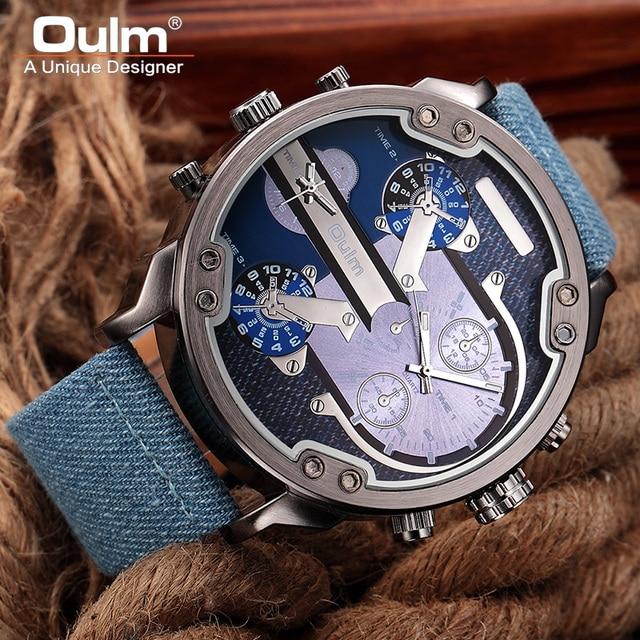 d12694fd2c6 Oulm Watches Top Brand Luxury Fashion Quartz Sport Watch Small Dials  Decoration Canvas Strap Men Wristwatch