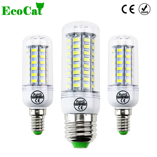ECO CAT 2017 Full NEW LED lamp E27 E14 69leds 72leds 106leds SMD 5730 Corn Bulb 220V lamparas led Chandelier LED Spotlight
