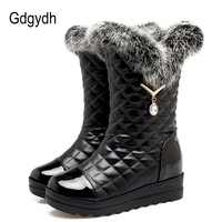 Gdgydh Sexy Rhinestone Snow Boots Women Warm Shoes Slip On Real Fur Ladies Boots For Winter