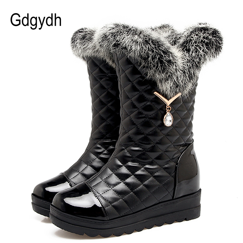 Gdgydh Sexy Rhinestone Snow Boots Women Warm Shoes Slip-on Real Fur Ladies Boots For Winter Leather PU Comfortable Big Size 42