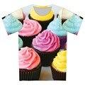 Homens Sorvete de Coco Árvores Balão de Impressão T-shirts de Manga Curta O Pescoço T-shirt 2016 Moda Verão 3D T-Shirt Casual Tops Camisetas
