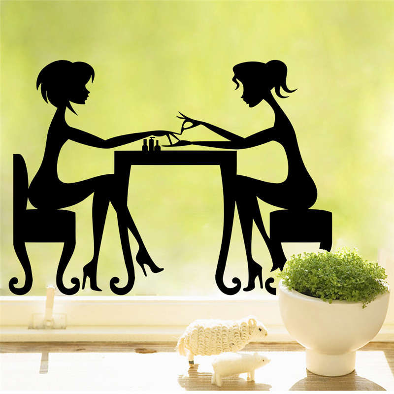 hot nail shop hair beauty salon wall art decals for bar diy removable home decoration stickers